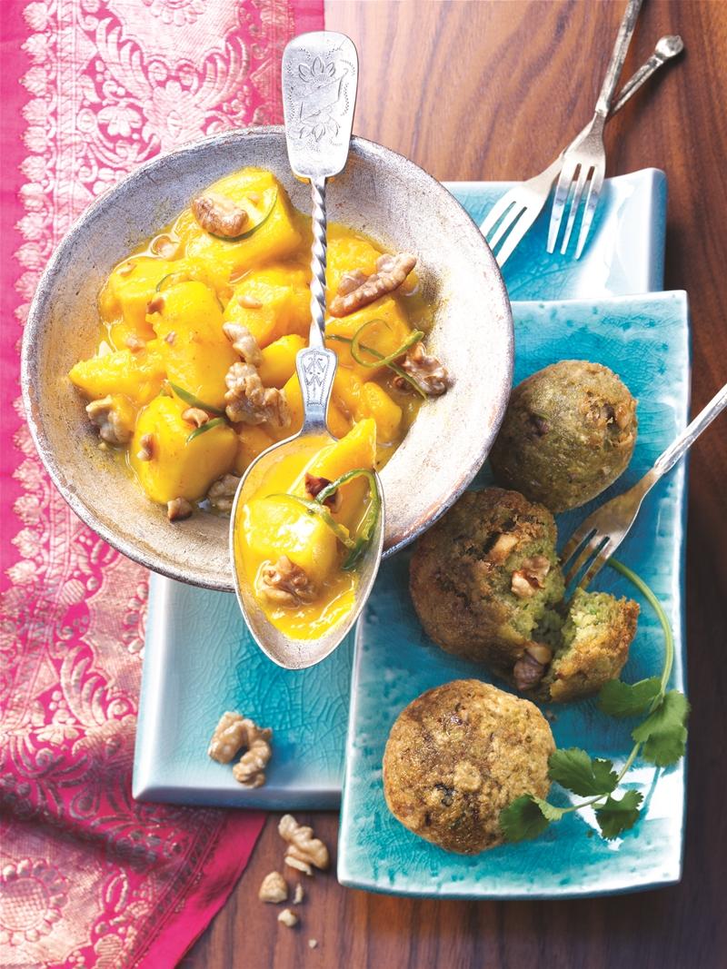 Walnut Falafel with Mango Pickles