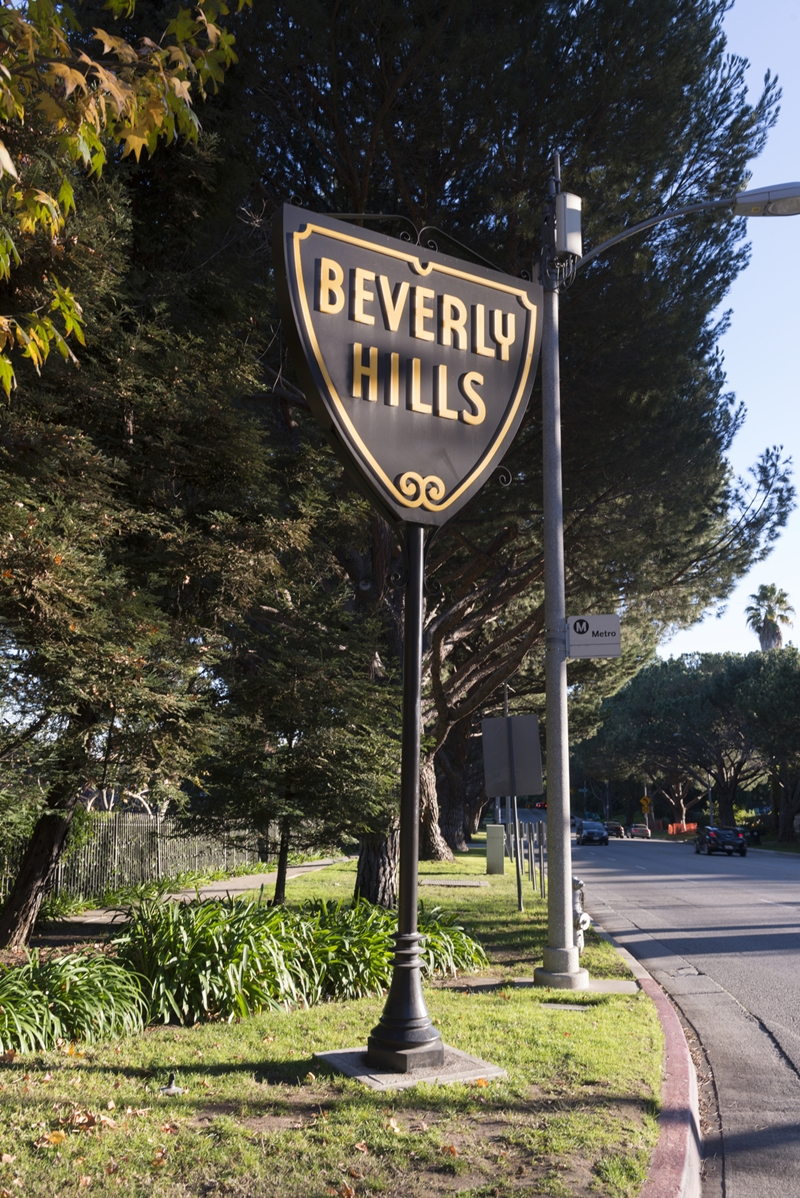 Iconic sign for the town of Beverly Hills, an affluent city in Los Angeles County, California, surrounded by the City of Los Angeles