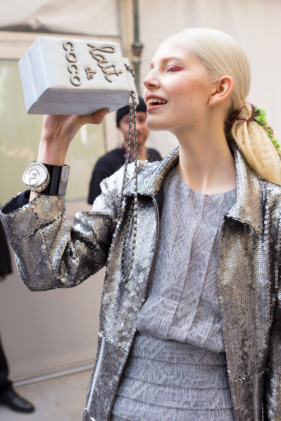Model with Lait de Coco Evening Bag, Karl Lagerfeld, 2014