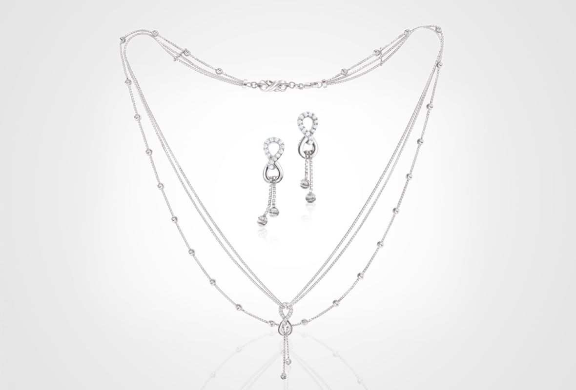 Platinum Earrings & Necklace from PGI's Season Of Hope collection