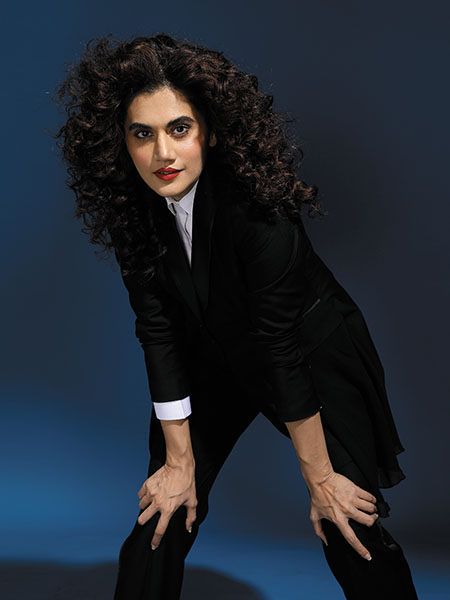 Tapsee in a made-to-measure suit
