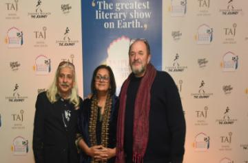 (Lto R) Sanjoy K Roy, Namita Gokhale & William Dalrymple